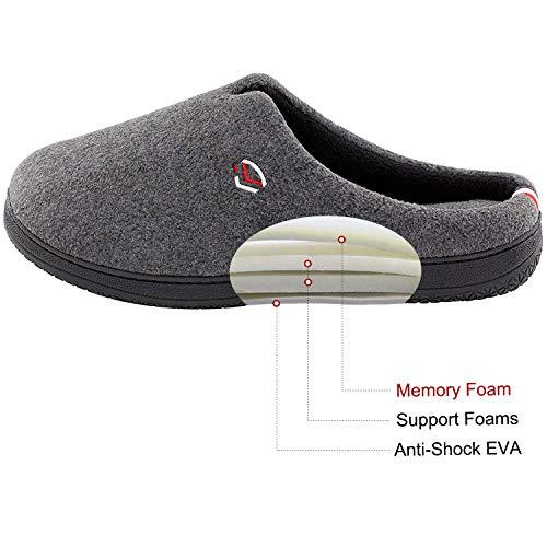 9b74c8e1407 Men s Comfort Polar Fleece Slip on Slippers Color Block Memory Foam House Loafers  Shoes w