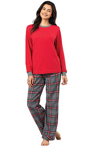- PajamaGram Womens Pajama Sets Flannel - Warm Pajamas for Women, Grey, XS, 2-4