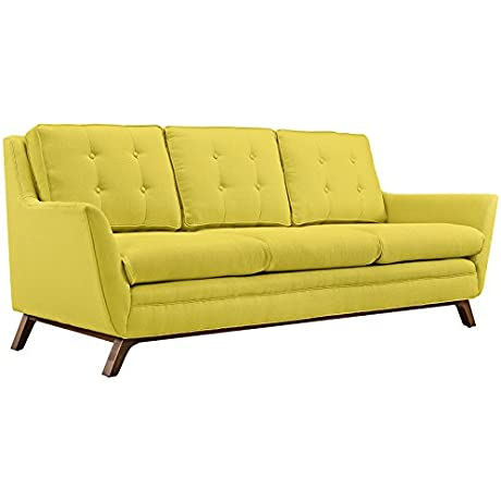Modway Beguile Mid Century Modern Sofa With Upholstered Fabric In Sunny