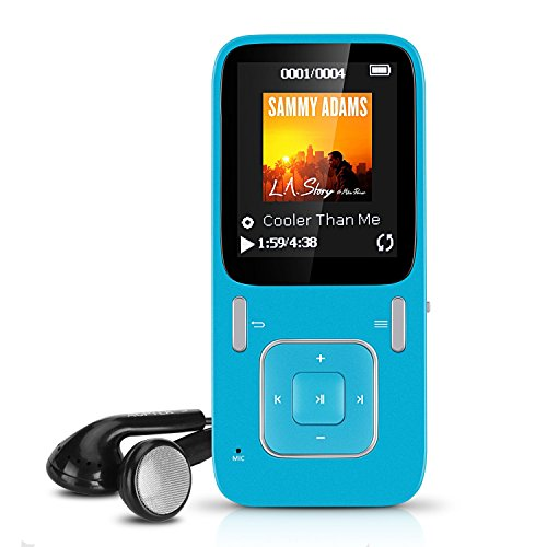 AGPTEK B03 8GB MP3 Player with FM Radio and Voice Recorder (Expandable up to 64GB), Versatile Digital Music Player, Blue (Player Prime Mp3 Music)