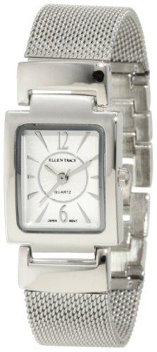 Amazon Lightning Deal 93% claimed: Ellen Tracy Women's ET5048SL Silver Mesh Square Case Silver Dial Watch