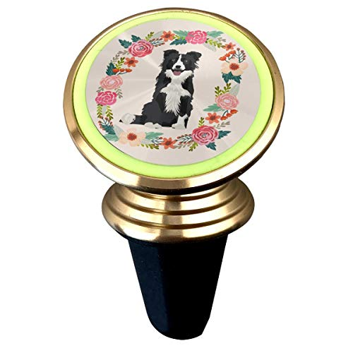 - 8 Inch Border Collie Black and White Wreath Florals Dog Fabric Magnetic Car Holder Rotation Universal Custom Adjustable 360˚ Rotation Universal Car Mount Cell Phone Stand