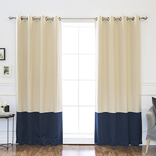 Best Home Fashion Colorblock Thermal Insulated Blackout Curtains - Antique Bronze Grommet Top - Beige/Navy - 52