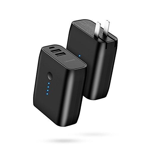 Brandtrendy 2 en 1 Cargador de Pared y Power Bank de 5000 mAh con 2 Puertos USB Apagado Automático