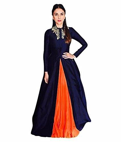 0ea55e8c00b Women s Crepe Silk Dress (Blue and Orange Free Size)  Amazon.in ...