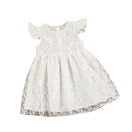 (Winsummer Baby Girls Lace Mesh Princess Tutu Dresses Lower Applique Long Sleeve Gauze DressFor Easter (1T,)