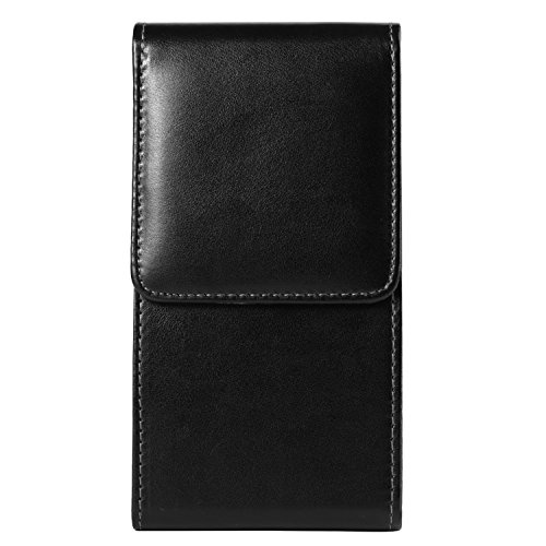 Black Smooth PU Leather Vertical Holster Case Pouch Bag w/ Belt Loop for Apple iPhone 8 7 Plus / Samsung Galaxy Note 8 / S8+ / S8 / S8 Active / Huawei Mate 10 / Nova 2 Plus / P10 Plus
