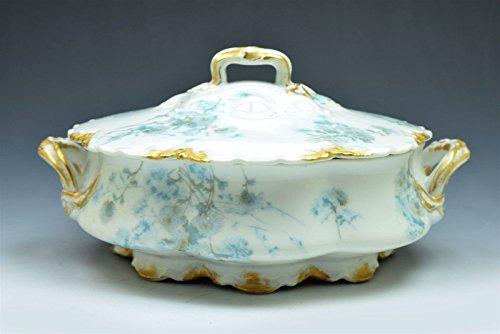 Antique Limoges Haviland White Blue Thistle Gold Trim Covered Vegetable - Bowls Haviland Porcelain