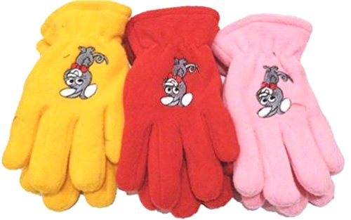 Three Pairs Fleece Very Warm One Size Gloves for Children Ages 3-6 Years by Gita