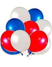 TIZZY 60 Pack Rood Wit en Blauw Ballonnen 12 Inch Latex Party Ballonnen Perfecte Party Verjaardag Decoratie voor Alle Gelegenheden