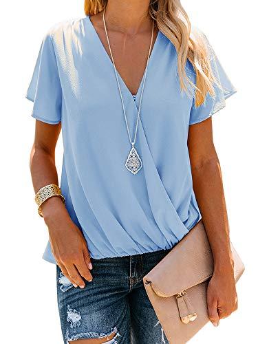 (Women's V Neck Short Sleeve Blouse Tops Drape Wrap Front Casual Chiffon Shirts)