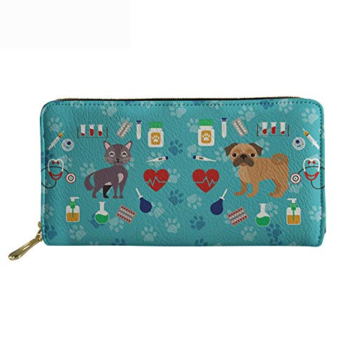 SANNOVO Zip Around Long Wallet - Dog Lover Clutch Purse with Coin Purse Cell Phone Case Pu Leather Travel Shopping Daily Handle - Long Dog Wallet