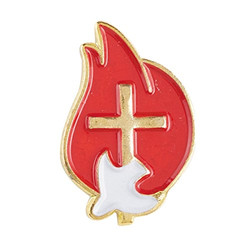 Red and Gold Toned Holy Spirit Confirmation Lapel Pin with Bookmark, 3/4 Inch, Pack of 12