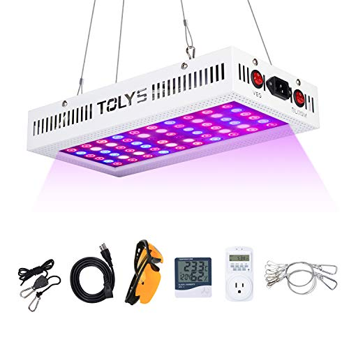Goggle Timer - 1000W Grow Light, 2019 TOLYS LED Plant Lights Double Chips Full Spectrum Grow Lamping for Indoor Plants Veg and Flower, with Humidity Monitor Timer and Glasses(White)