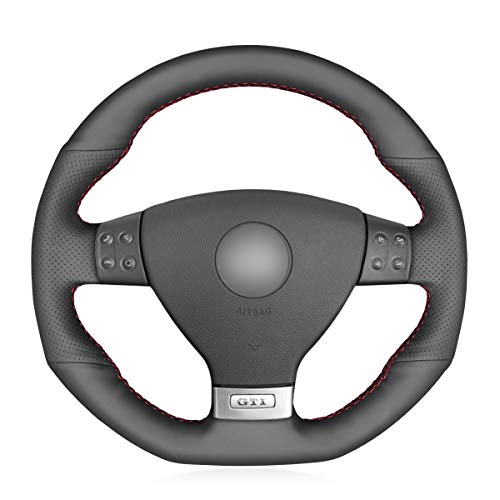(MEWANT Black Artificial Leather Customized Car Steering Wheel Cover for Volkswagen Golf 5 Mk5 GTI VW Golf 5 R32 Passat R GT 2005)