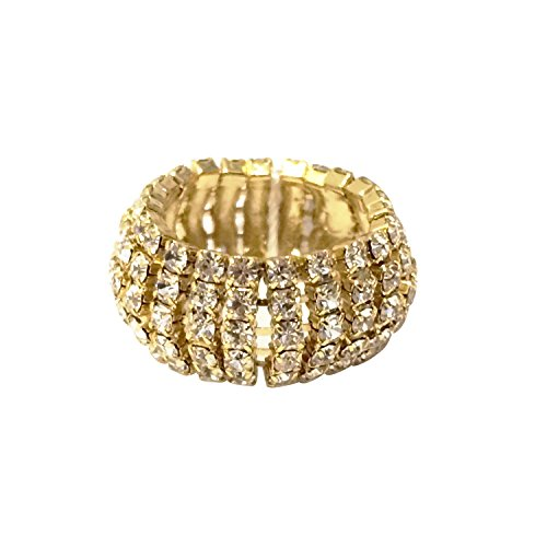 Collection Bijoux 14K Gold, Rose Gold, or Rhodium Plated Dome Ring with White Crystals, Size 7