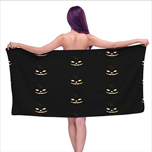 Denruny Bath Towels Large Seamless Pattern with Halloween Pumpkins with Scary Stare,W12 xL35 for Beach -