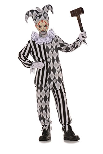Underwraps Big Girl's Boy's Evil Harlequin Costume - Medium Childrens Costume, Multi, Medium -