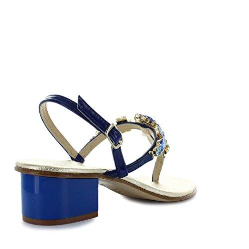 Giallo 2018 Talón Primavera Verano Positano Azul Zapatos Sandalia Mujer Medio de Swarovski qCRwSUB