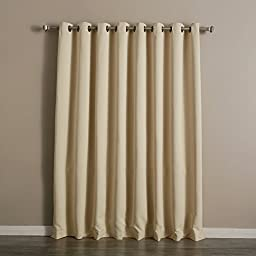 Best Home Fashion Wide Width Thermal Insulated Blackout Curtain - Antique Bronze Grommet Top - Beige - 100\