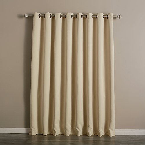 Best Home Fashion Wide Width Thermal Insulated Blackout Curtain – Antique Bronze Grommet Top – Beige – 100″W x 96″L – (1 Panel)
