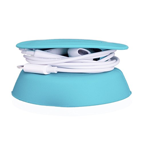 - Budley - Tangle-Free Earphone/Earbud Case, Compact Storage System, Silicone (Teal, Set of 1)
