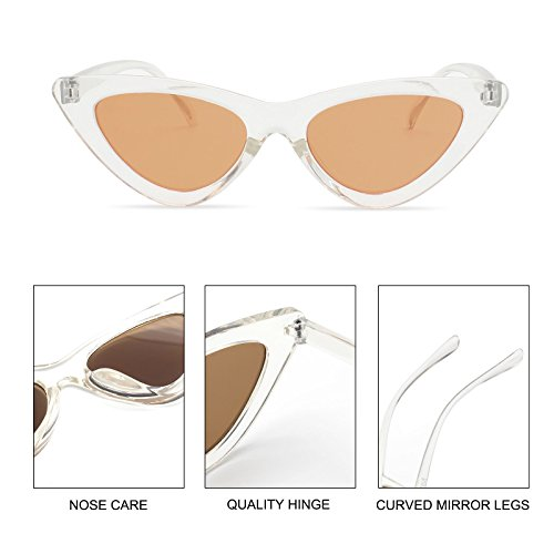 2bcdbc638f696 ... Livhò Retro Vintage Narrow Cat Eye Sunglasses for Women Clout Goggles  Plastic Frame Clear Brown ...