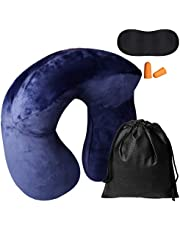 nuosen Inflatable Neck Pillow, Travel Pillow Set with Earplugs Eye Mask Carrying Bag for Travelling, TV, Reading on Airplane, Car and Train(U Shaped,dark blue)