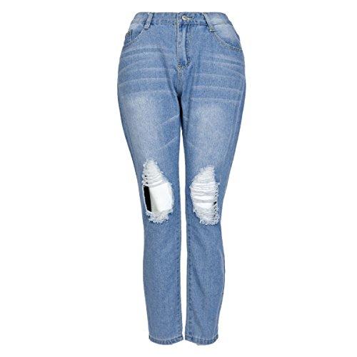Destruido tramo Lápiz Azul De Del Rasgados Lanmworn Afligido Cintura Flaco Pantalones Apretado Polainas Mujer Alta Vaqueros Claro Agujero Casual Jeans P771B
