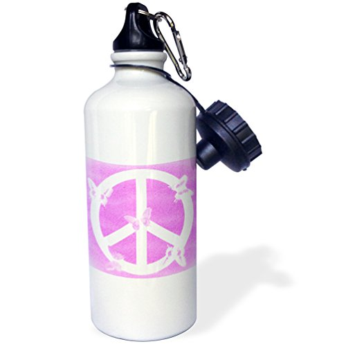 3dRose Patricia Sanders Creations - Pink Sand Peace Sign Butterflies- Inspirational Art - 21 oz Sports Water Bottle ()
