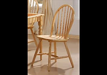 Natural Finish Spindle Back Wood Dining Chair Set Of 4