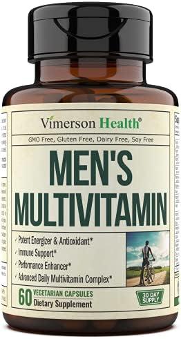 Men's Daily Multimineral Multivitamin Supplement. Vitamins A C E D B1 B2 B3 B5 B6 B12. Magnesium, Biotin, Spirulina, Zinc. Antioxidant Properties, Immune Health. 60 Capsules