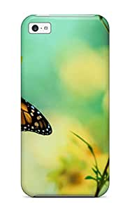 DPatrick Iphone 5c Hybrid Tpu Case Cover Silicon Bumper Brown Butterfly Wallpaper
