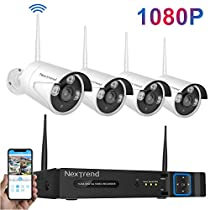 [1080P Full HD] Security Camera System Wireless, NexTrend 8CH Wireless Security Camera System(No Hard Drive), 4Pcs 1080P Outdoor Security Cameras, Clear Night Vision for Home Security System
