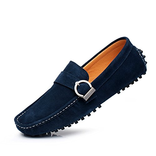 Yuanli Mens Casual Driving Suede Leather Loafers Slip on Moccasins Blue oQ9qpEC2