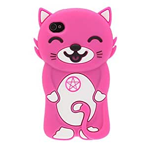 ZL 3D Smiling Cat Silicone Soft Case for iPhone 4/4S (Assorted Colors) , Orange