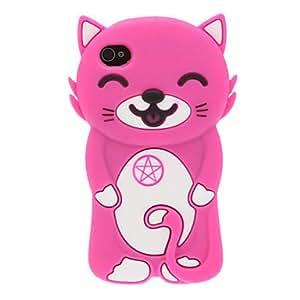 CECT STOCK 3D Gato sonriente Funda de silicona para el iPhone 4/4S (colores surtidos) , Púrpula