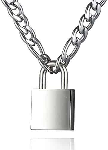 Padlock Necklace Stainless Steel Lock Chain for Men Women Silver 18-24 inch