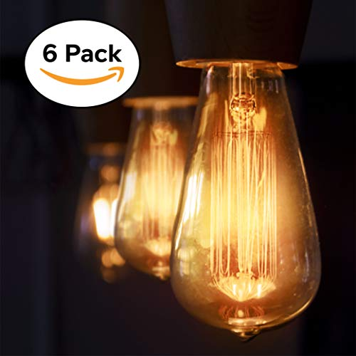 6-Pack Vintage Edison Filament Light Bulb - ST64 - Dimmable - by Newhouse Lighting, Medium (E26) Standard Base E27 - Squirrel Cage ()