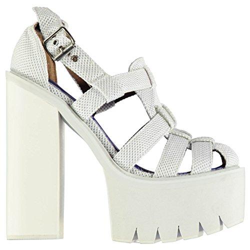 Jeffrey Campbell Mujer F1554 Gladiator Tacon Sandalias Verano Plataforma Zapatos White Mesh