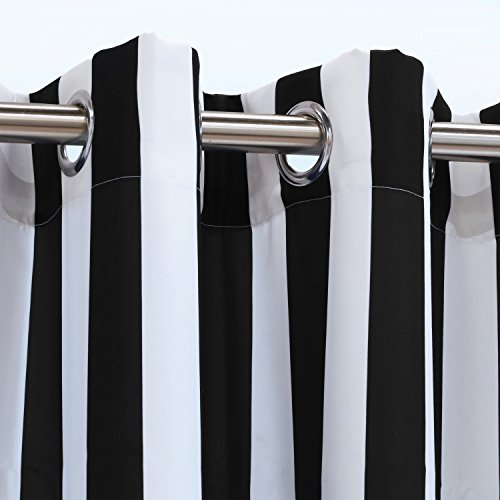 Outdoor Decor Coastal Stripe Cabana Panel, Black (50