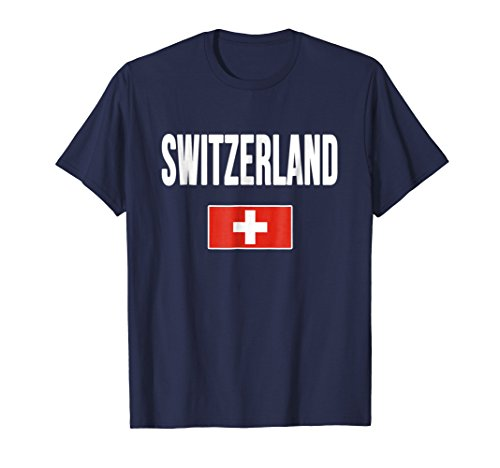 - Mens Switzerland T-shirt Swiss Flag Large Navy