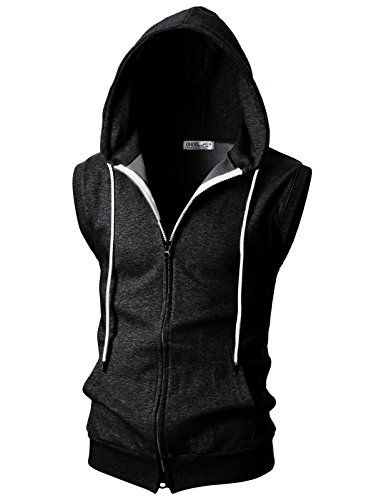 - OHOO Mens Slim Fit Sleeveless Lightweight Zip-up Hooded Vest with Double Slide Zipper/DCF011-CHARCOAL-L