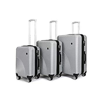 Image of Luggage Ornate Hardside Luggage with Spinner Wheels - 20', 26', 30' Expandable Suitcases with Wheels. Carry On and Checked Luggage Sets (Silver, 3-Piece Set (20',26',30'))