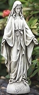 Our Lady Of Grace Textured Concrete Look 6 x 14 Resin Outdoor Garden Statue