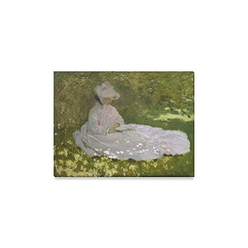 Christmas/New Year Home Decor Claude Monet Woman Reading Graphic Pattern Home Decoration Canvas Prints- 16x12 Inch(One ()