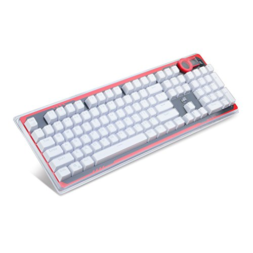 Redragon A101 104 Keyboard Keys, Cherry MX Keycaps Compatible, mechanical keyboard keycaps inclusive Keypuller (White) (White Key Caps)
