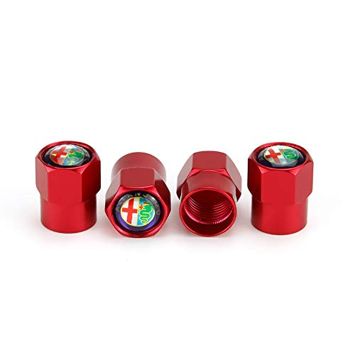 TK-KLZ Lot de 4 Capuchons de Valve de Pneu de Voiture en m/étal pour Alfa Romeo Giulia Stelvio