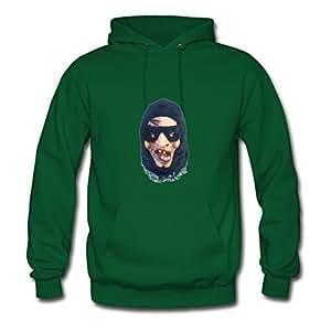 Custom-made Long-sleeve Halloween Scary Head Created Hoodies In Green Women Cotton X-large