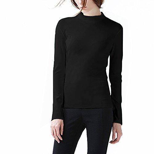 COTTON PICKING GIRLS Women's Long Sleeve t-shirt Sexy Soft Cotton Top (L, Black/Half-Turtleneck)
